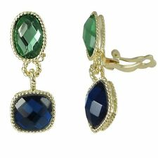 Gold-Tone Green Blue Crystals Square Oval Dangle Clip On Earrings