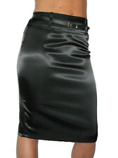 NEW Ladies Satin Shine Pencil Skirt Evening Party With Belt Black Size 8-18