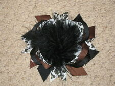 "NEW ""CHOCOLATE LEOPARD"" Fur Hairbow Alligator Clips Girls Ribbon Bows 4.5 Inch"