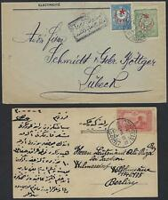 TURKEY 1914 POST CARD FROM STAMBOUL & KARA COVER CENSORED W/ MILITARY SEAL BOTH