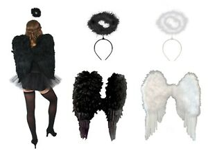 Large Black White Angel Feather Wings and Halo Ladies Costume Accessory