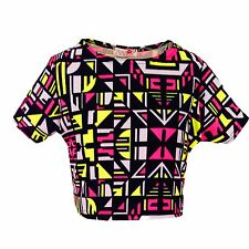 Girls Neon Pink & Yellow Aztec Print Skater Skirt Midi Dress Crop Top Legging