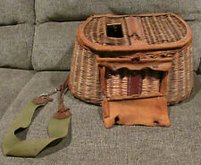 Vintage Antique Fishing Creel basket deer/buckskin leather wicker old home decor