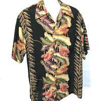 Vintage Kamehameha Hawaiian Shirt Sz L Black Anthurium Multi Color Floral Print
