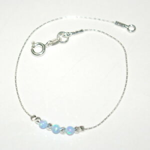 Sterling Silver 925 Chain Laser Cut & OPAL Beads BRACELET Blue Green White Pink
