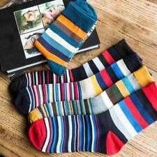 Fashion Women Men Cotton Socks Warm Multi-Color Fancy Stripe Casual Dress;