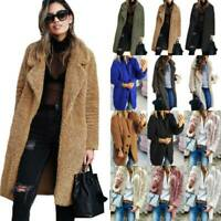 Ladies Long Teddy Bear Cardigan Coat Comfy Faux Fur Winter Warm Jacket Outwear