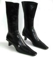 PRADA - Bottes petits talons tout cuir noir 37 italien 37.5 Fr - EXCELLENT ETAT