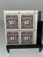 CANADA 1935 6c POSTAGE DUE Plate Block Of 4 No 1 SG D23 MNH