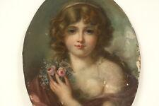 Ovales Pastell Portrait eines Mädchens, um 1820, Frankreich Karton Stimmungsvoll