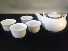 Vtg. Asian White Porcelain Tea Set With Brown Trim In Bamboo Handle 6 Piece Set