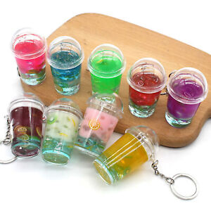 Creative Tea Keychain Fruit Cold Glass Pendant Bag Decor Gift Exy
