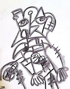 EXPRESSIONISM PAINTING PLAGUE DOCTOR ORIGINAL PORTRAIT INK DESIGN CONTEMPORARY