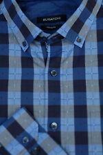 Bugatchi Uomo Homme Léger Bleu Foncé Carreaux Coton Décontracté Chemise L Large