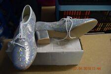 Silver hologram cuban heel oxford character dance shoes - size UK 4.5