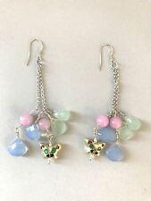 butterfly with Prosperity Jade gemstones Designer dangle Earrings 925 SS new