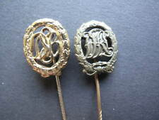 2x Original Lapel Pin Miniature DRL And Dsb Sport Badges IN Bronze And Gold