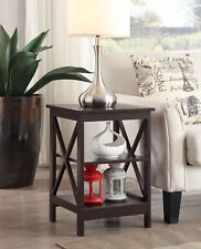 Open Shelf End Table Sofa Side Accent Display Storage Wood Living Room Furniture