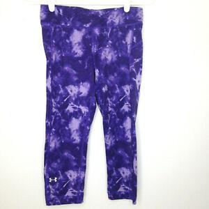 Under Armour Capri Leggings Womens Small Purple Tie Dye Capri 1271786 HeatGear