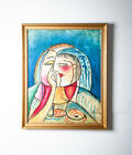 Mid Century Modern Painting B. Long Art Abstract Portrait Signed Picasso Cubist