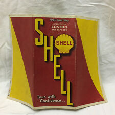 Vintage 1935 Shell Road Map Boson & Cape Cod Fold-out