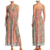 NWT Angie Keyhole Coral Teal Smocked Floral Striped Summer Maxi Sun Dress S/M/L