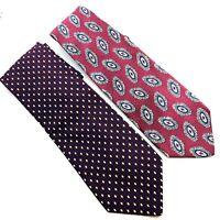 Lot of 2 Robert Talbott for Nordstrom Classic Burgundy Mens Necktie Neck Tie