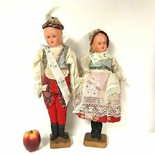 Pair of Paper Mache Dolls With Cloth Body In Treditional German Hand Made Cloths