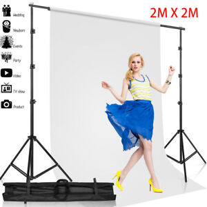 Photography Studio Background Support Stand + White Screen Backdrop Photo 2MX2M