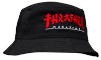 THRASHER Magazine Godzilla Embroidered Japanese Logo Black / Red Bucket Hat