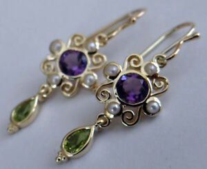 E123 Real 9K or 18K Gold NATURAL Amethyst,Peridot & Pearl Suffragette Earrings