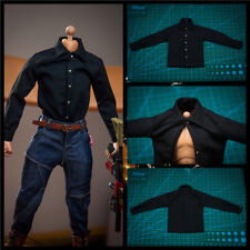 "【only Shirt 】1:6 Scale Black Business Shirt Model For 12"" Male Body Doll"