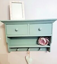 SHABBY CHIC WALL SHELF UNIT CABINET STORAGE HOOKS DRAWERS DISPLAY HOME DECOR
