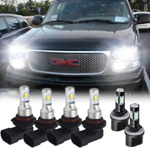 For GMC Sierra Yukon XL 1500 2500 9005 9006 LED Headlight Fog Light White Bulbs