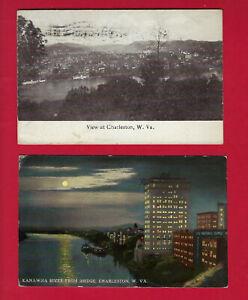 2 Charleston, WV pc KANAWHA RIVER waterfront, steamboats, one at night, 1907-12