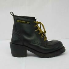 Caterpillar Black CAT Boots Real Leather with Heel Wide Width 4 UK / 37 EUR
