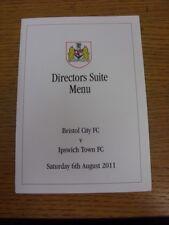 06/08/2011 Bristol City v Ipswich Town - Official Directors Suite Menu, Four Pag
