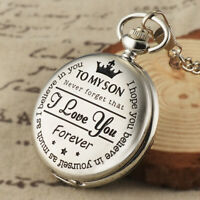 Silver Carving Quartz Movement Pocket Watch Fob Chain White Dial Roman Numerals