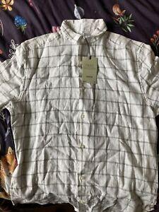 New Mens Next White Check Linen Blend Short Sleeved Shirt, Size S