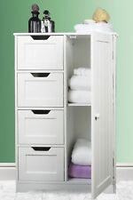 White Wood Free Standing Storage Cabinet Unit Bathroom Drawers Cupboard Basin