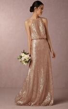 Anthropologie BHLDN Alana Sequin Maxi Dress by Donna Morgan Wedding Sz 4 $290