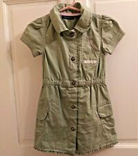 Calvin Klein Jeans Girls Dress Green Short Sleeve Snaps Pink Details Size 2T