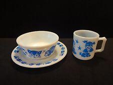 RARE Hazel Atlas Dog Duck Bunny Childs Milk Glass Mug Bowl Plate Mint Condition
