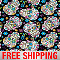Black Folkloric Skulls Day of the Dead Fleece Fabric - 2888-3 - Free Shipping!!