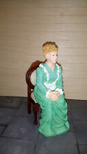 Dolls house figure 1/12th scale poly/resin Vict. lady sitting