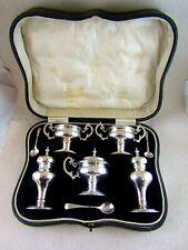 Antique Solid Silver BOXED 5 PIECE CRUET  Hallmarked:-Birmingham 1911