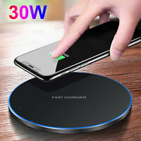 Qi Sans Fil Chargeur 30W Max Rapide Pad Stand pour iPhone 12 11 Pro Max Xs X