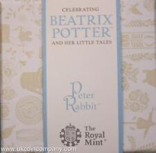 2017 PETER RABBIT MONETA D'ARGENTO PROOF 50p serie Beatrix Potter