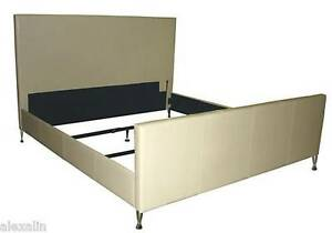 Modern King Size Genuine Leather Bed in Bone with Chrome Legs