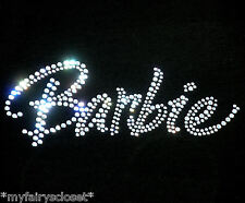 "8"" clear Barbie text iron on rhinestone transfer for Barbie t shirt bling patch"